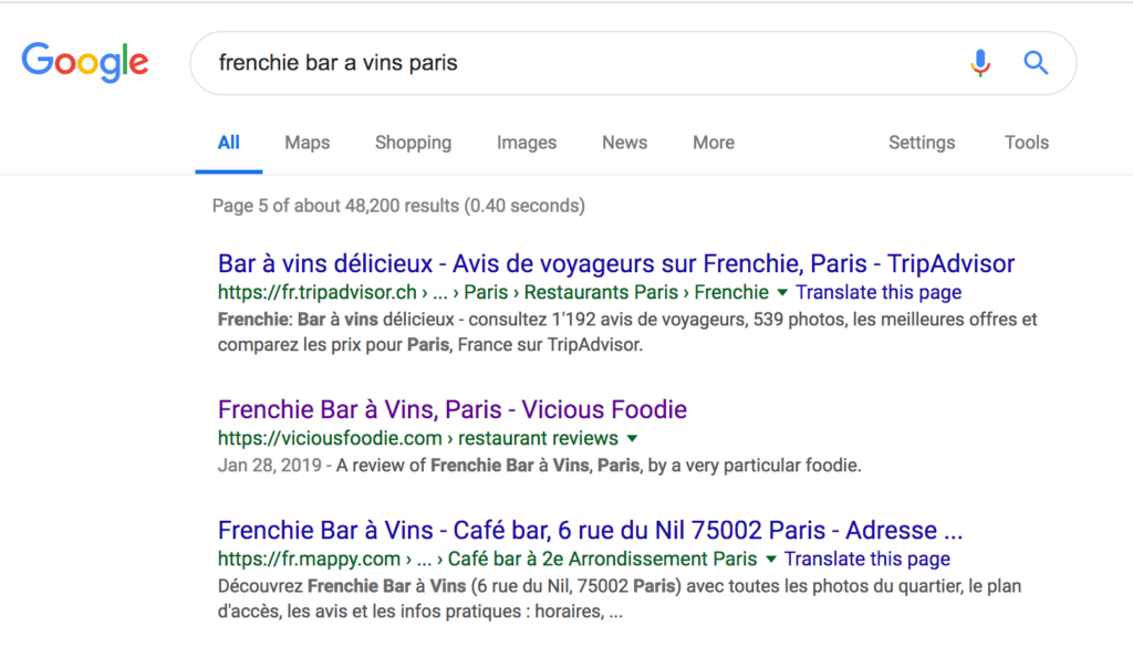 Page five of Google search results for Frenchie Bar a Vins Paris